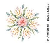 watercolor round mandala of... | Shutterstock . vector #1028352613
