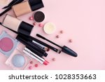 makeup brush and decorative... | Shutterstock . vector #1028353663