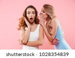 portrait of a two cute girls... | Shutterstock . vector #1028354839