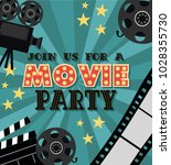 invitation for movie party ... | Shutterstock .eps vector #1028355730