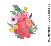 realistic anatomical heart... | Shutterstock .eps vector #1028356588