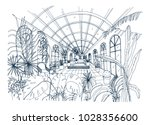 freehand drawing of interior of ... | Shutterstock .eps vector #1028356600
