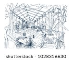 freehand sketch of interior of... | Shutterstock .eps vector #1028356630