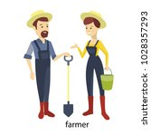 isolated farmer couple. man and ... | Shutterstock .eps vector #1028357293