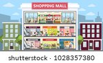 shopping mall center interior... | Shutterstock .eps vector #1028357380