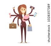 multi tasking woman with baby ... | Shutterstock .eps vector #1028357389