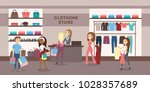 women at clothing store buying... | Shutterstock .eps vector #1028357689