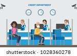 People at credit department in bank. Office interior. | Shutterstock vector #1028360278