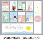 blue pink pastel greeting card... | Shutterstock .eps vector #1028360770