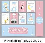 blue pink pastel greeting card... | Shutterstock .eps vector #1028360788