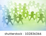 paper doll people holding hands | Shutterstock . vector #102836366