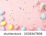 Stock photo top view shot of arrangement decoration happy easter holiday background concept flat lay colorful 1028367808