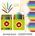 colored pencils in a box and on ...   Shutterstock .eps vector #1028374450