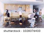 ocean birds in the flooding... | Shutterstock . vector #1028376433