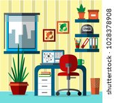 home office interior.  working... | Shutterstock .eps vector #1028378908
