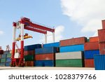 container terminal image | Shutterstock . vector #1028379766