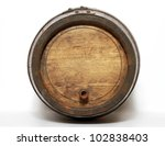 Wooden Barrel With Iron Rings. ...