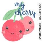 cute cherry illustration ... | Shutterstock .eps vector #1028391520