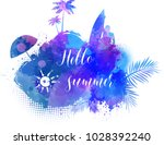 abstract painted splash shape... | Shutterstock .eps vector #1028392240