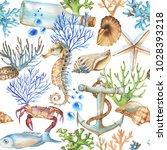 hand drawn watercolor sea... | Shutterstock . vector #1028393218