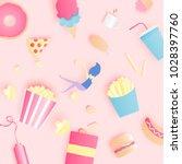 various junk food in paper art... | Shutterstock .eps vector #1028397760