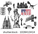 set of hand drawn sketch style... | Shutterstock .eps vector #1028413414