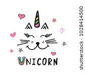 sweet unicorn vector... | Shutterstock .eps vector #1028414500