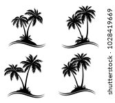 tropical palm trees  black... | Shutterstock .eps vector #1028419669
