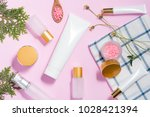 natural cosmetics and leaves on ... | Shutterstock . vector #1028421394