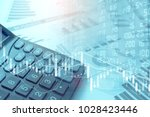 Small photo of Calculator and TRading GRAPH on SPREADSHEET Excel Research FInancial Accounting Summary Analysis Report, Double Exposure Business Finan BUSINESS DATA and STOCK MARKET EXCHANGE Concept