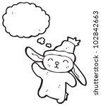 cartoon waving bunny rabbit | Shutterstock . vector #102842663