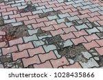 damaged asphalt road with...   Shutterstock . vector #1028435866