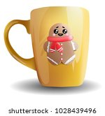 realistic cup with cute cookie... | Shutterstock .eps vector #1028439496