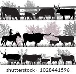 silhouettes of cattle breed of... | Shutterstock .eps vector #1028441596