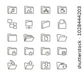 folders related icons  thin... | Shutterstock .eps vector #1028444203