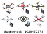 drones isometric icons isolated ... | Shutterstock .eps vector #1028452378