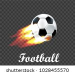 soccer ball on fire on... | Shutterstock .eps vector #1028455570