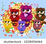 a family of colorful  bright ... | Shutterstock .eps vector #1028456464
