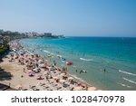 kusadasi beach in aydin city in ... | Shutterstock . vector #1028470978