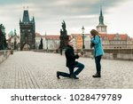 a man makes a proposal to marry ... | Shutterstock . vector #1028479789