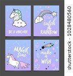 collection of cards with hand... | Shutterstock .eps vector #1028480560