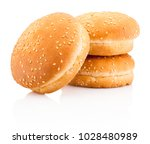 three hamburger buns with... | Shutterstock . vector #1028480989