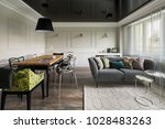 living room with wooden dining... | Shutterstock . vector #1028483263