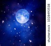 blue night sky with full moon... | Shutterstock . vector #1028493538