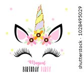 birthday party invitation with... | Shutterstock . vector #1028495029