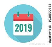 2019 calendar icon flat color.... | Shutterstock .eps vector #1028500933