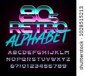 80's retro alphabet font. metal ...   Shutterstock .eps vector #1028515213