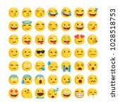 set of funny classic emojis.... | Shutterstock .eps vector #1028518753