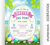 easter egg hunt announcing... | Shutterstock .eps vector #1028525326