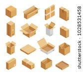 parcel packaging box icons set. ... | Shutterstock .eps vector #1028531458